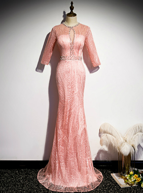 Pink Mermaid Short Sleeve Beading Prom Dress