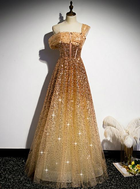 Gold Sequins One Shoulder Pleats Corset Prom Dress