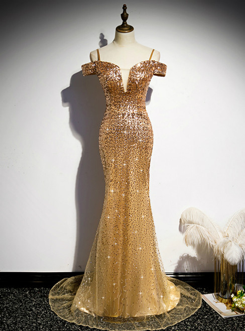 Gold Mermaid Sequins Spaghetti Straps Prom Dress