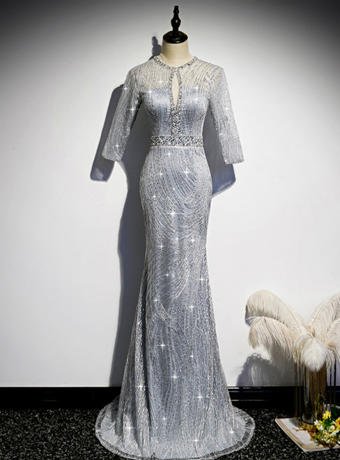 Silver Mermaid Short Sleeve Beading Prom Dress