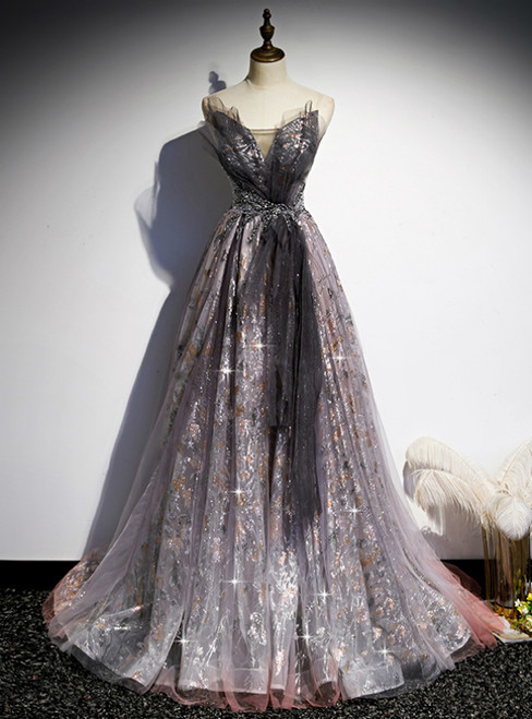 Gray Tulle Sequins Sweetheart Beading Prom Dress