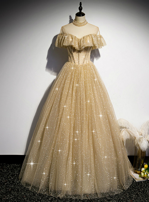 Gold Tulle Sequins High Neck Backless Beading Prom Dress