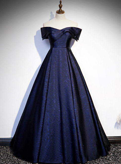 Navy Blue Satin Off the Shoulder Prom Dress