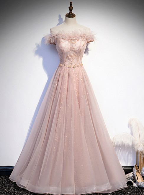 Pink Tulle Sequins Off the Shoulder Prom Dress