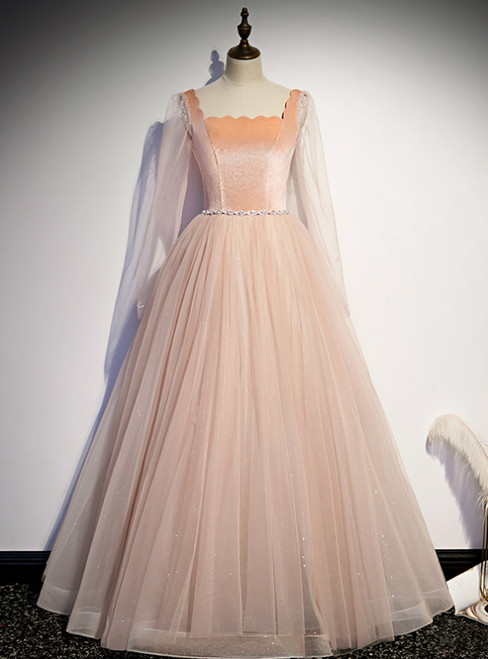 Champagne Pink Tulle Square Long Sleeve Prom Dress