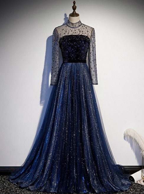 Navy Blue Tulle Sequins High Neck Long SLeeve Beading Prom Dress