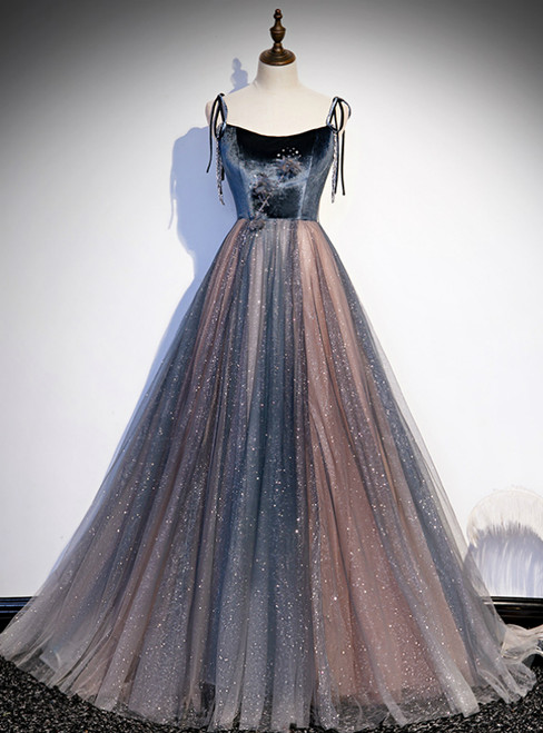 Blue Tulle Spaghetti Straps Beading Prom Dress