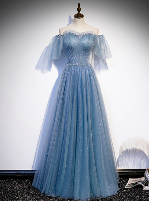 Blue Tulle Sequins Off the Shoulder Beading Pleats Prom Dress
