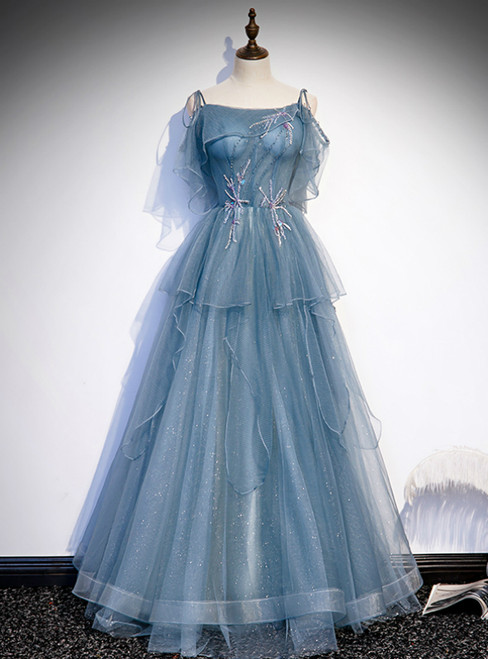 Blue Tulle Spagehtti Straps Beading Prom Dress