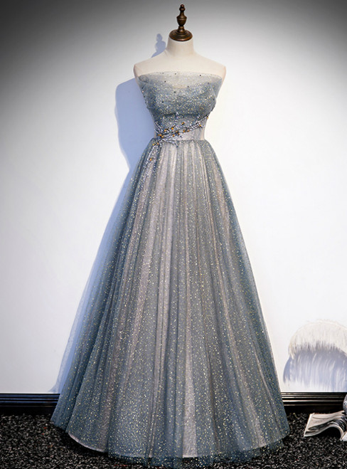 Silver Gray Tulle Sequins Strapless Beading Prom Dress