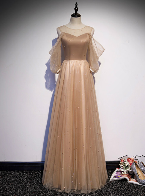 Champagne Tulle Short Sleeve Pearls Prom Dress