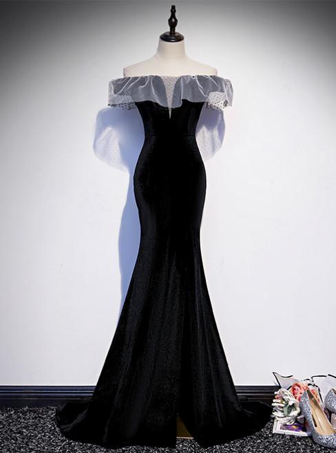 Black Mermaid Velvet Off the Shoulder Prom Dress