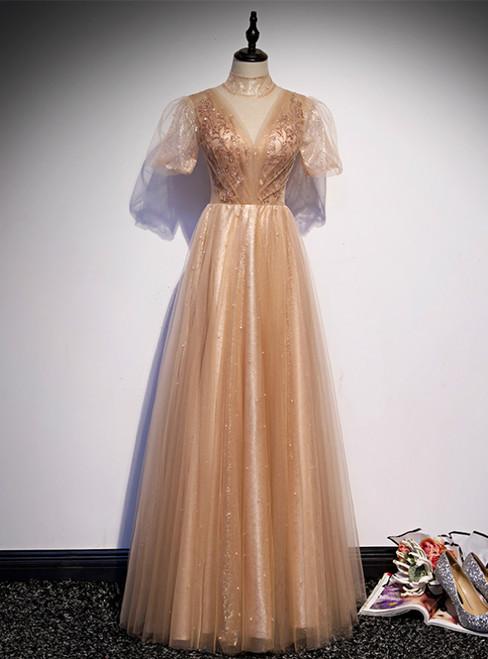 Gold Tulle High Neck Short Sleeve Beading Prom Dress