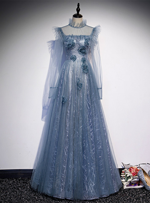 Blue Tulle Long Sleeve High Neck Backless Prom Dress