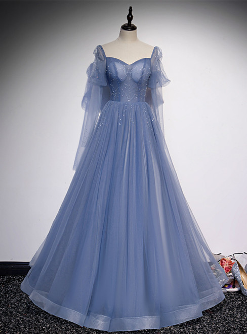 Blue Tulle Square Long Sleeve Beading Prom Dress