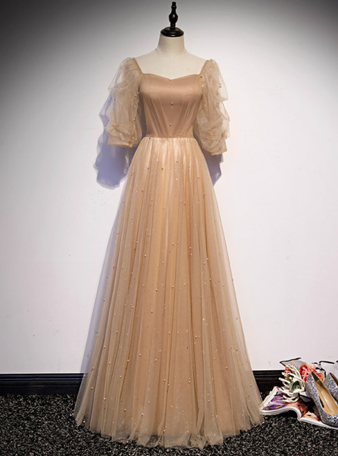 Champagne Tulle Square Puff Sleeve Pearls Prom Dress
