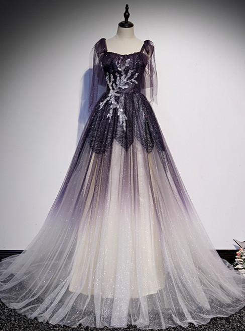 Light Purple Tulle Sequins Straps Beading Prom Dress