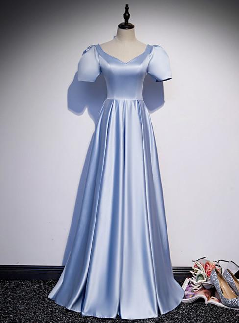 Light Blue Satin V-neck Puff Sleeve Beading Prom Dress