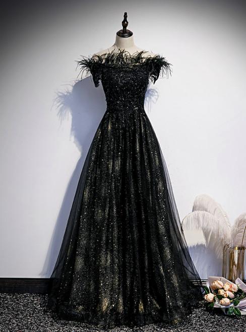 A-Line Black Sequins Off the Shoulder Feather Prom Dress