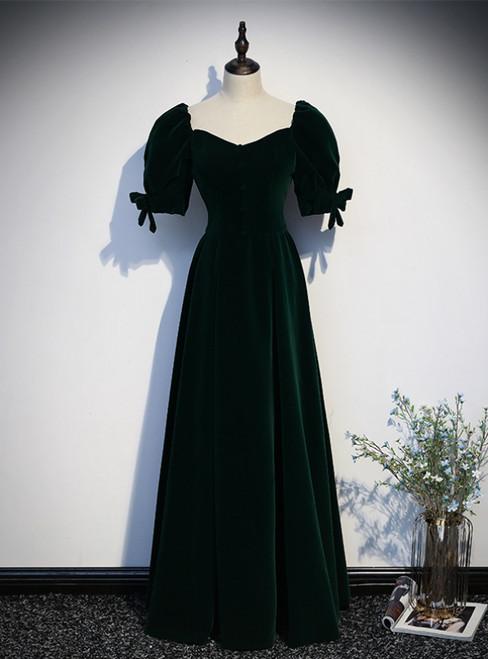 Dark Green Velvet Square Puff Sleeve Prom Dress