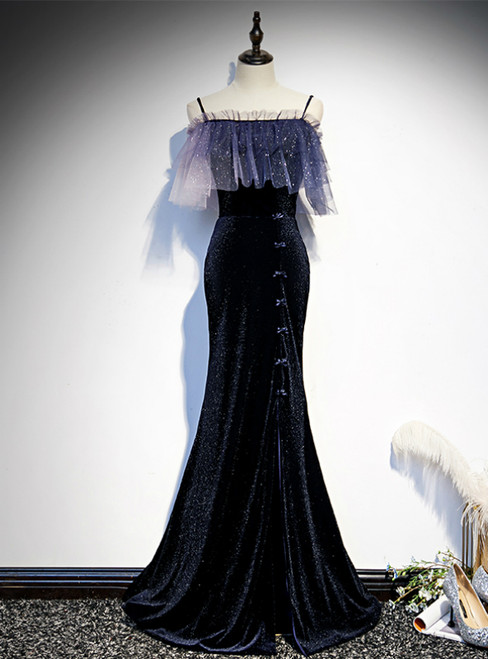 Navy Blue Mermaid Spaghetti Straps Prom Dress