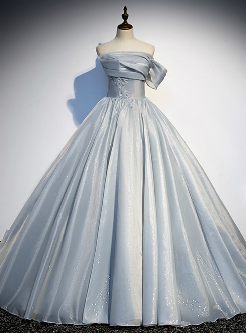 Silver Gray Ball Gown Strapless Pleats Prom Dress