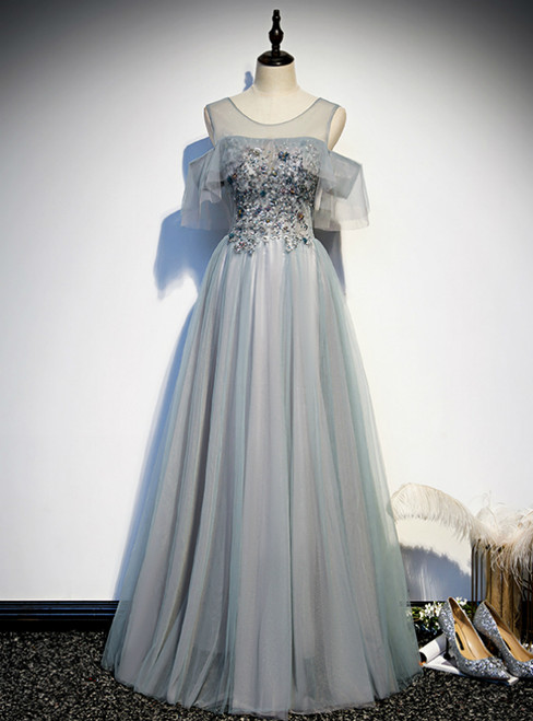 Gray Tulle Beading Sequins Formal Prom Dress