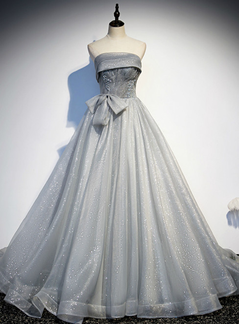 Silver Gray Tulle Strapless Beading Prom Dress