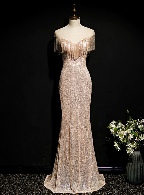 Gold Mermaid Sequins Beading Tassel Cap Sleeve Prom Dress