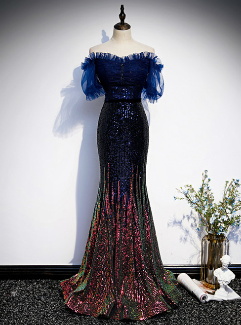 Navy Blue Mermaid Sequins Off the Shoulder Short Sleeve Prom Dress