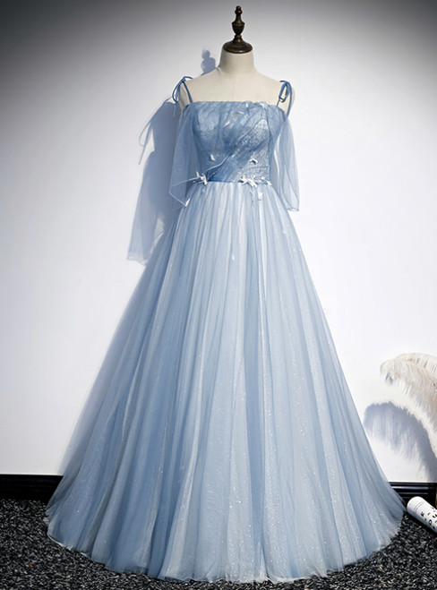 Light Blue Tulle Spaghetti Straps Appliques Prom Dress