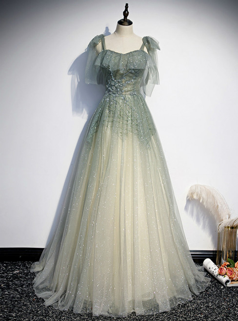 Green Tulle Sequins Spaghetti Straps Prom Dress