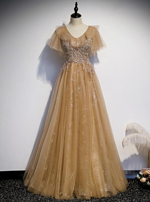 Champagne Tulle V-neck Short Sleeve Beading Prom Dress
