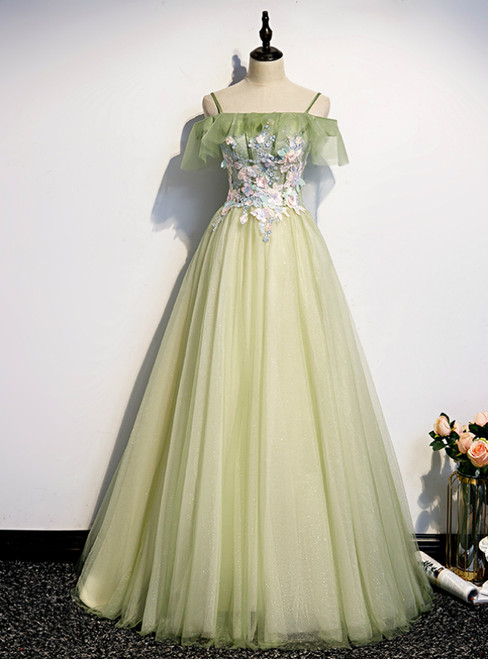 Light Green Tulle Spaghetti Straps Appliques Prom Dress