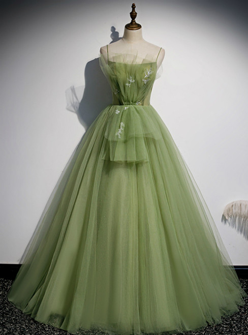 Green Tulle Spaghetti Straps Beading Prom Dress