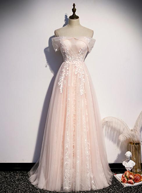 Light Pink Tulle Off the Shoulder Appliques Prom Dress