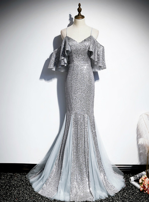 Silver Gray Mermaid Sequins Spaghetti Straps Prom Dress