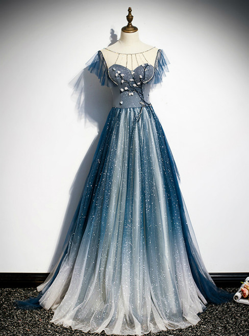 A-Line Blue Tulle Beading Backless Prom Dress