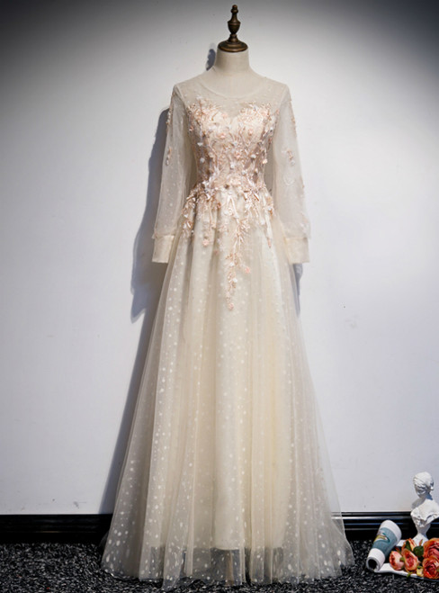 Champagne Tulle Long Sleeve Appliques Prom Dress
