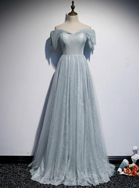 Light Blue Sequins Off the Shoulder Prom Dress