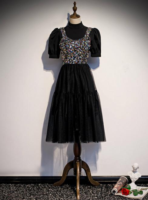 Black Tulle Sequins Short Sleeve Short Prom Dress