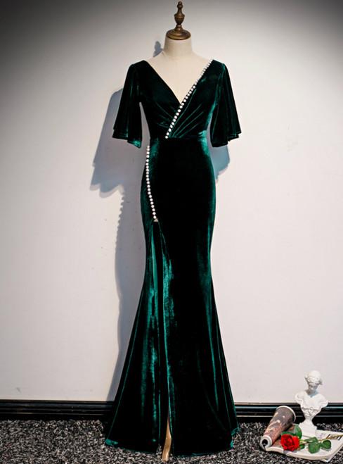 Dark Green Mermaid Velvet Short Sleeve V-neck Prom Dress