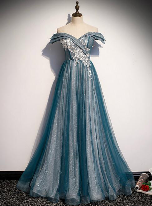 Blue Tulle Sequins Off the Shoulder Appliques Prom Dress