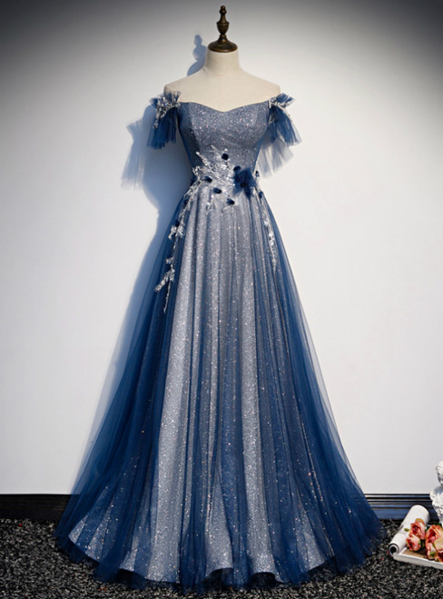 Amazing Blue Tulle Sequins Off the Shoulder Beading Prom Dress