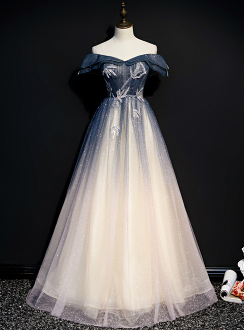 Blue Tulle Off the Shoulder Beading Pleats Prom Dress