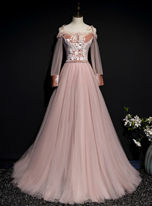 Pink Tulle Spaghetti Straps Long Sleeve Appliques Prom Dress
