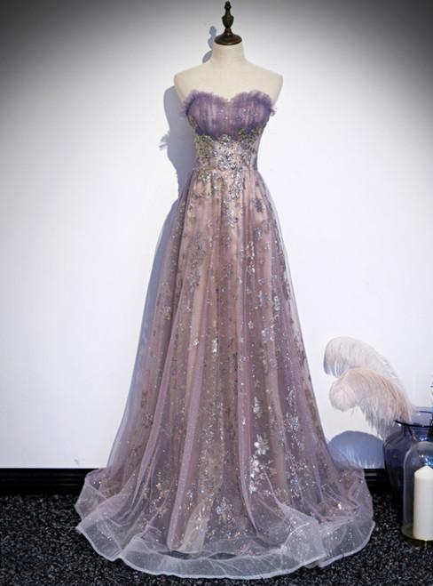 Purple Tulle Sequins Sweetheart Pleats Prom Dress