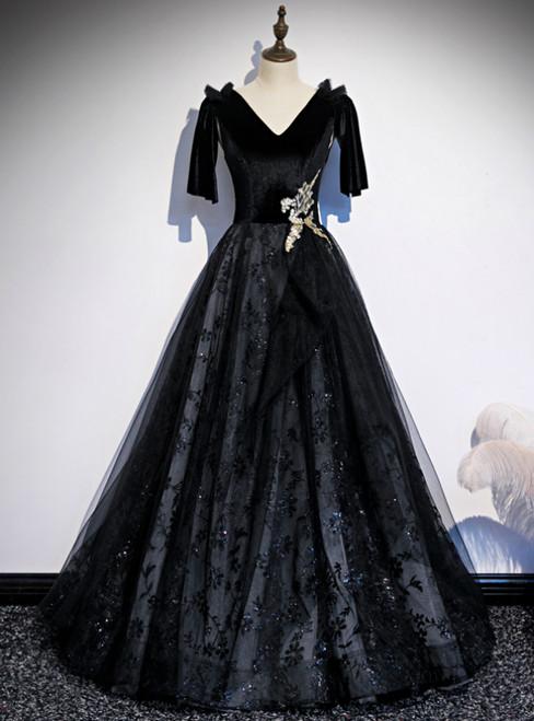 Black Tulle Sequins V-neck Short Sleeve Prom Dress