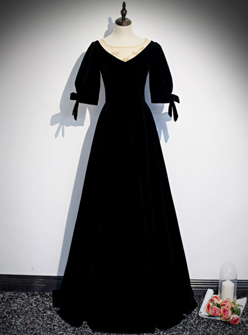 Black Velvet Short Sleeve Beading Prom Dress