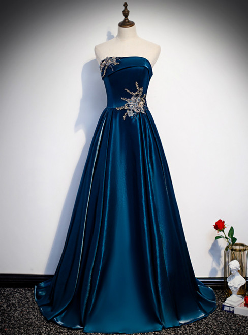 Blue Satin Strapless Beading Appliques Prom Dress